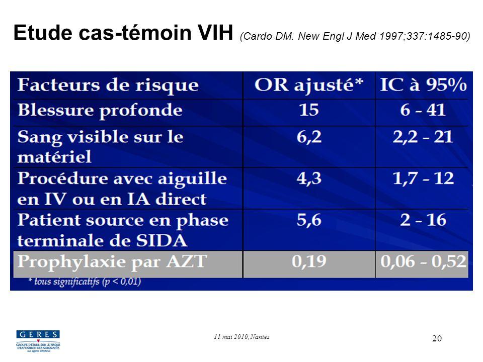 20 Etude cas-témoin VIH (Cardo DM. New Engl J Med 1997;337:1485-90) 11 mai 2010, Nantes