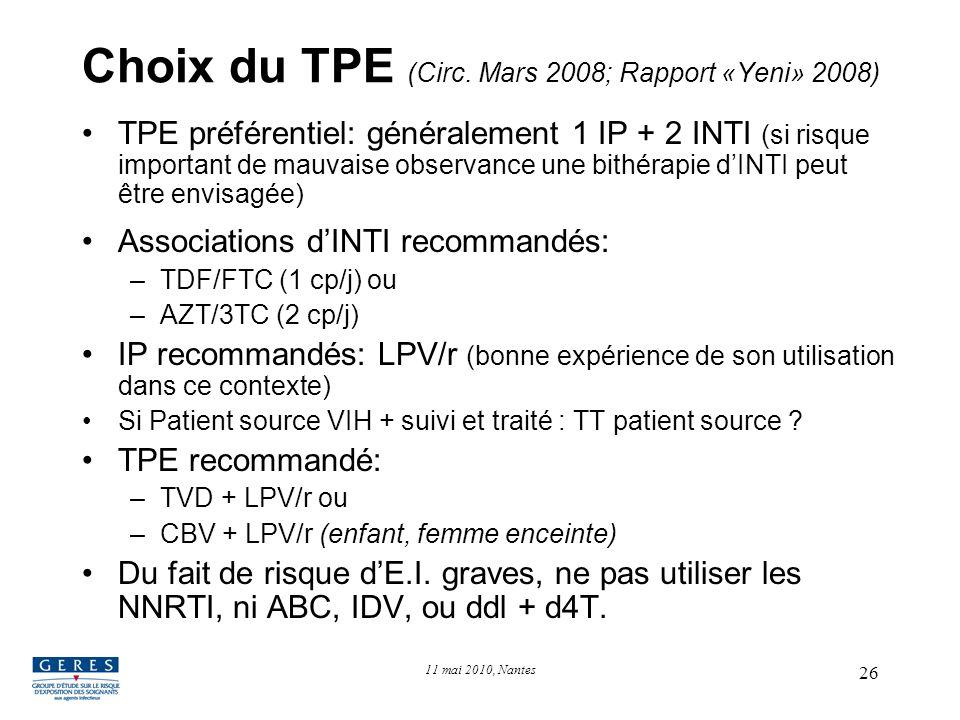 26 Choix du TPE (Circ. Mars 2008; Rapport «Yeni» 2008) TPE préférentiel: généralement 1 IP + 2 INTI (si risque important de mauvaise observance une bi