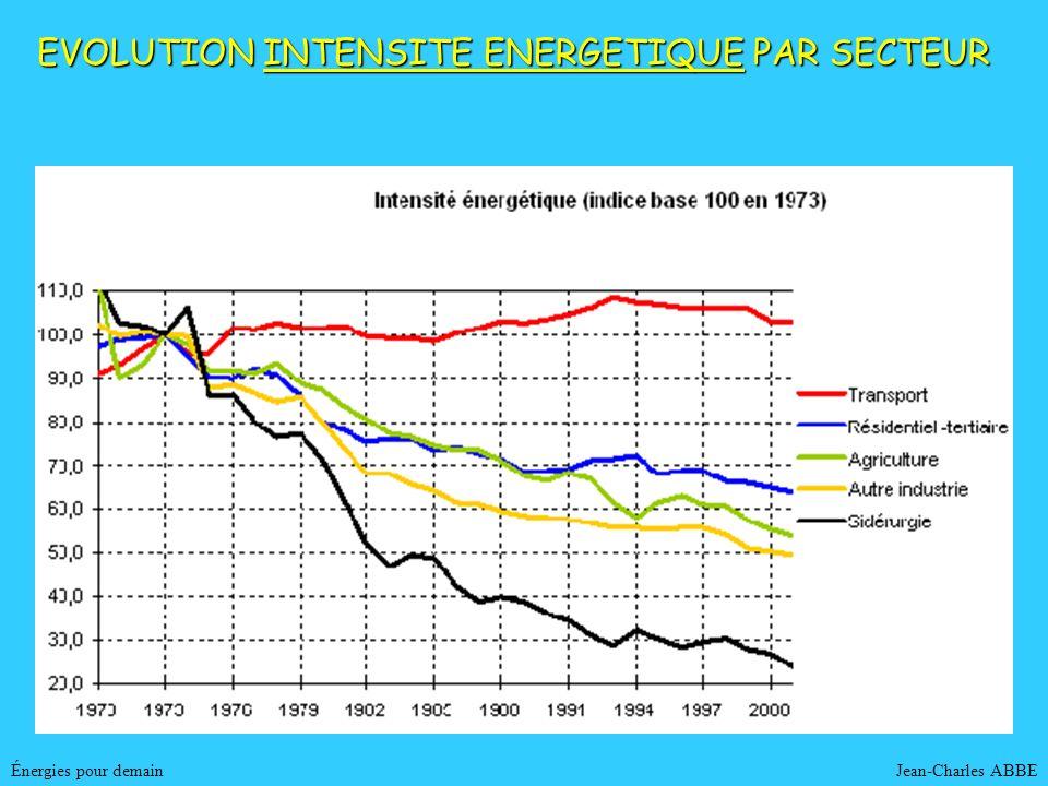 Jean-Charles ABBEÉnergies pour demain EVOLUTION INTENSITE ENERGETIQUE PAR SECTEUR