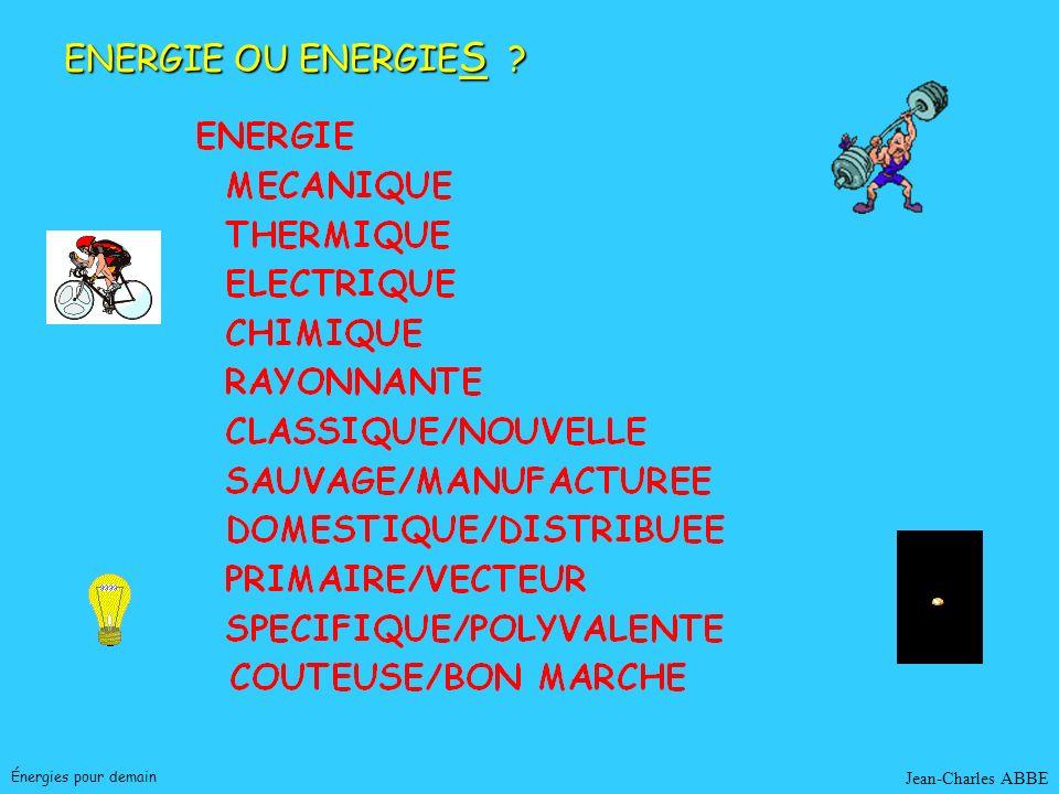 Jean-Charles ABBEÉnergies pour demain BIOMASSE Trois filières Chimiques Hydrolyse : éthanol Liquéfaction : carburants Biologiques : micro-organismes Biologiques : micro-organismes Production directe méthane, éthanol Fermentation méthanique (biogaz) Thermochimiques Thermochimiques Production de chaleur