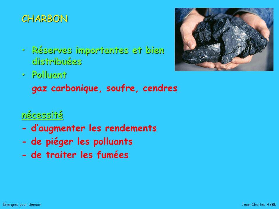Jean-Charles ABBEÉnergies pour demain Réserves importantes et bien distribuéesRéserves importantes et bien distribuées PolluantPolluant gaz carbonique