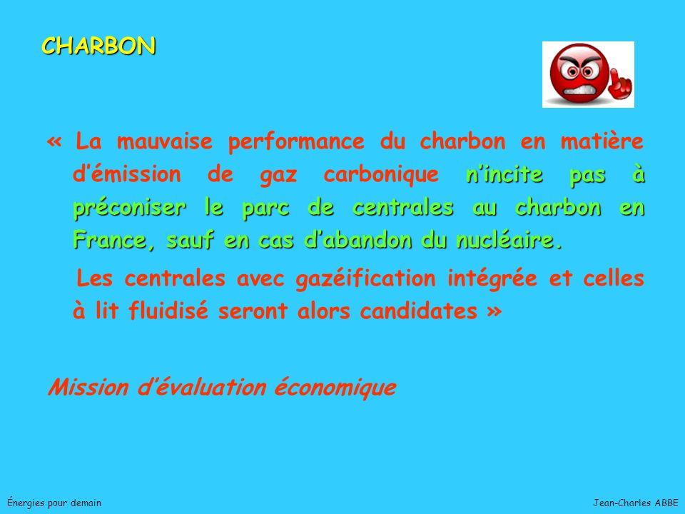 Jean-Charles ABBEÉnergies pour demain nincite pas à préconiser le parc de centrales au charbon en France, sauf en cas dabandon du nucléaire. « La mauv