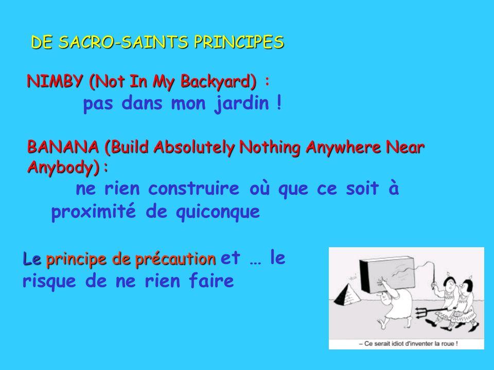 DE SACRO-SAINTS PRINCIPES NIMBY (Not In My Backyard) NIMBY (Not In My Backyard) : pas dans mon jardin ! BANANA (Build Absolutely Nothing Anywhere Near