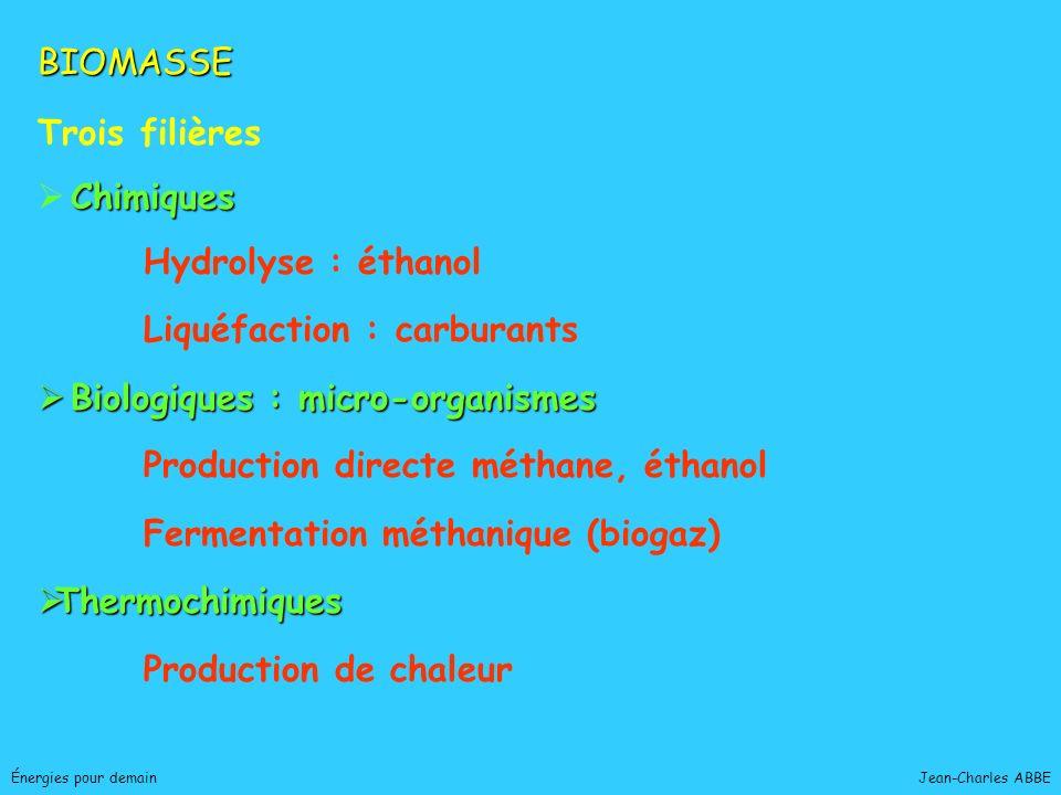 Jean-Charles ABBEÉnergies pour demain BIOMASSE Trois filières Chimiques Hydrolyse : éthanol Liquéfaction : carburants Biologiques : micro-organismes B