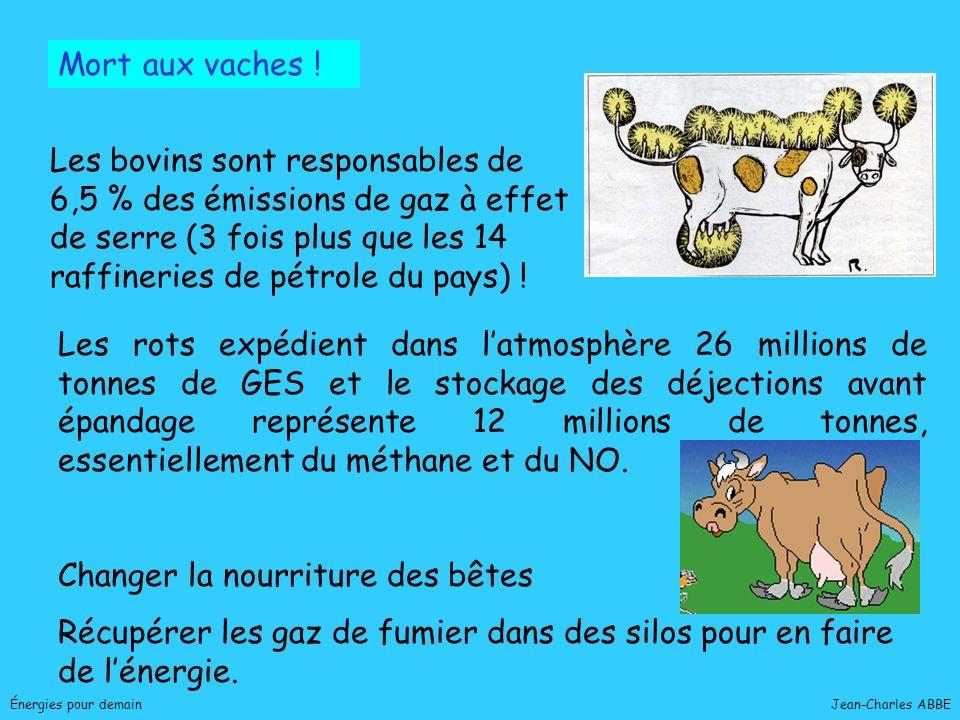 Jean-Charles ABBEÉnergies pour demain Mort aux vaches ! Les bovins sont responsables de 6,5 % des émissions de gaz à effet de serre (3 fois plus que l