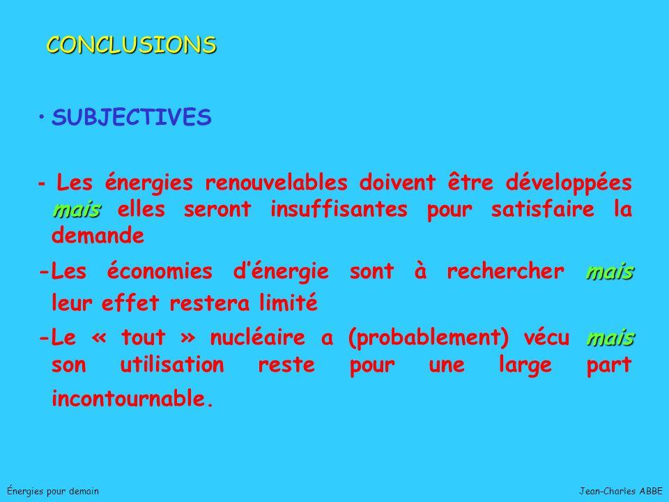 Jean-Charles ABBEÉnergies pour demain SUBJECTIVES mais - Les énergies renouvelables doivent être développées mais elles seront insuffisantes pour sati