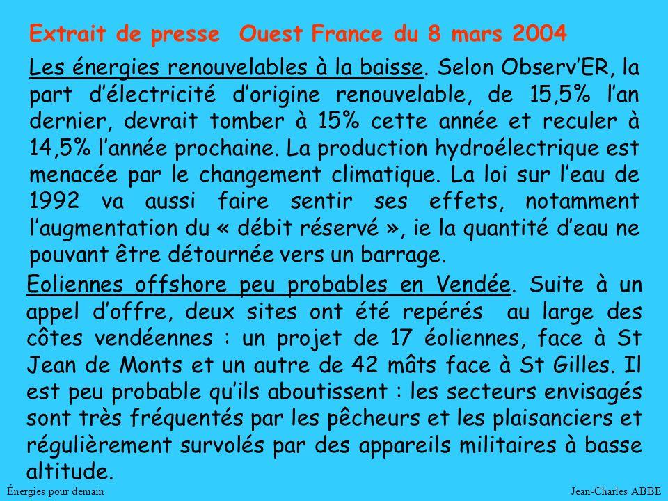 Jean-Charles ABBE Extrait de presse Ouest France du 8 mars 2004 Énergies pour demain Les énergies renouvelables à la baisse. Selon ObservER, la part d