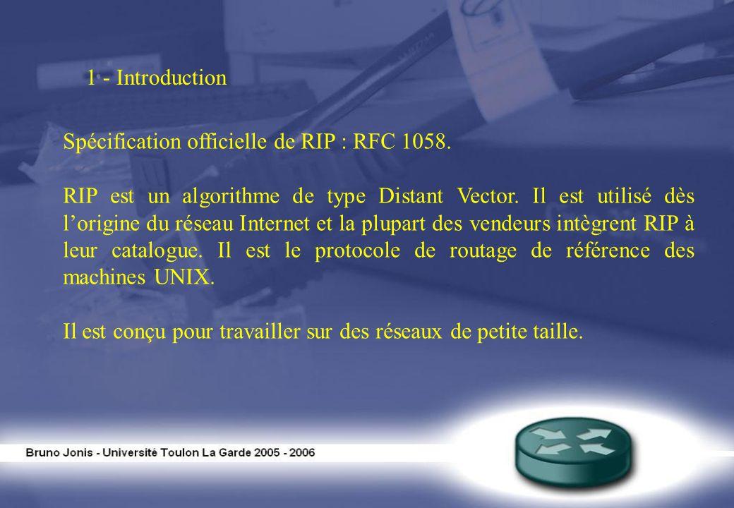 1 - Introduction Spécification officielle de RIP : RFC 1058. RIP est un algorithme de type Distant Vector. Il est utilisé dès lorigine du réseau Inter