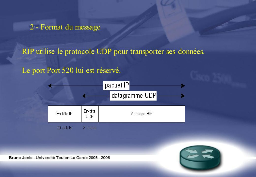 2 - Format du message RIP utilise le protocole UDP pour transporter ses données. Le port Port 520 lui est réservé.