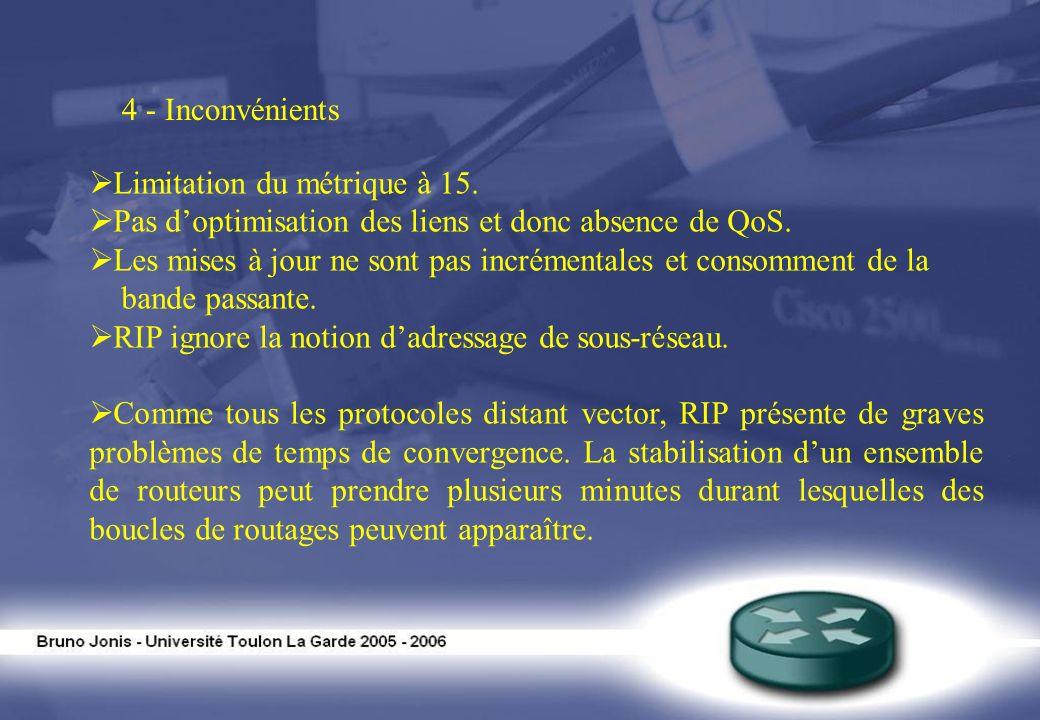 4 - Inconvénients Limitation du métrique à 15. Pas doptimisation des liens et donc absence de QoS. Les mises à jour ne sont pas incrémentales et conso