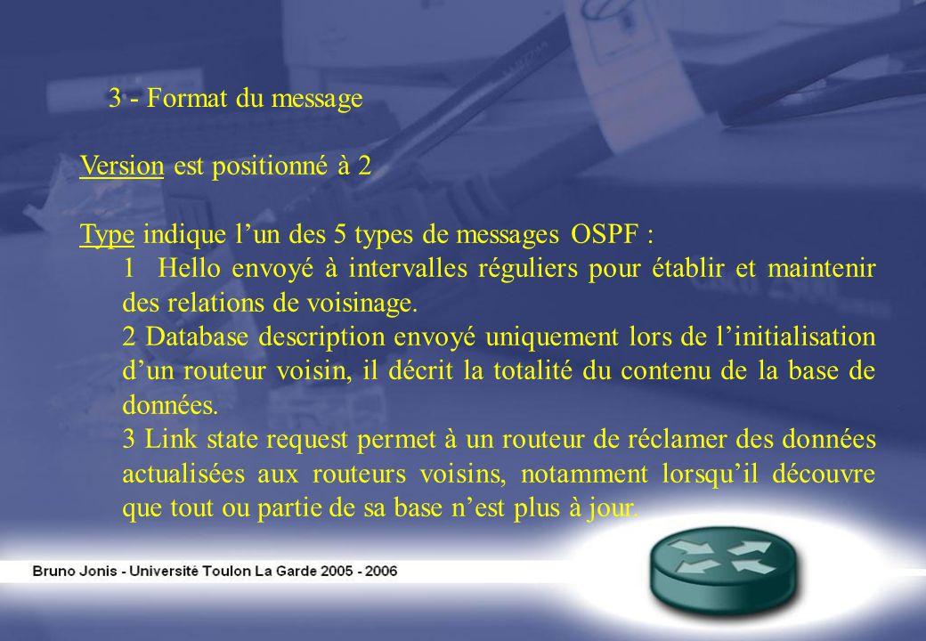 Version est positionné à 2 Type indique lun des 5 types de messages OSPF : 1 Hello envoyé à intervalles réguliers pour établir et maintenir des relati