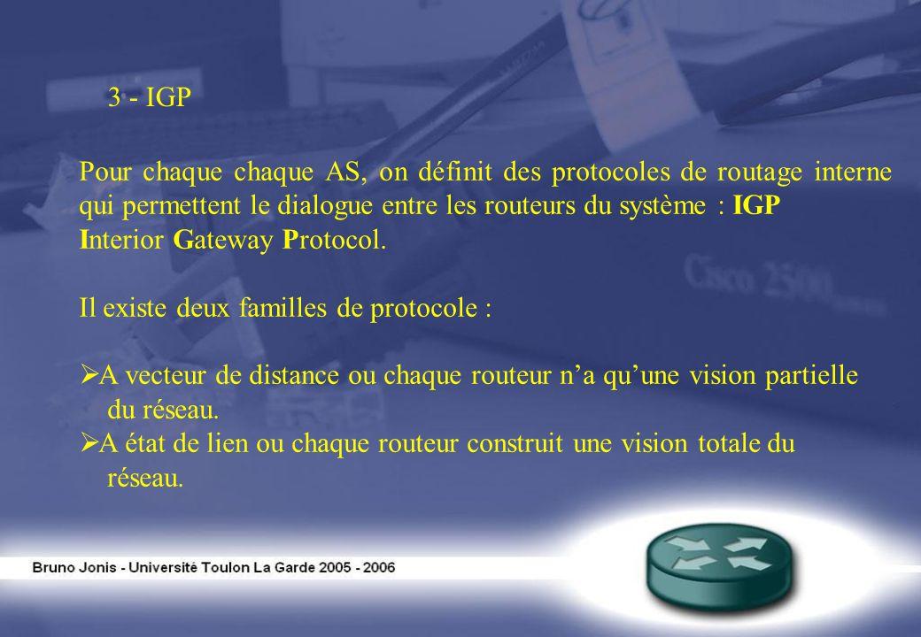 3 - IGP Pour chaque chaque AS, on définit des protocoles de routage interne qui permettent le dialogue entre les routeurs du système : IGP Interior Ga