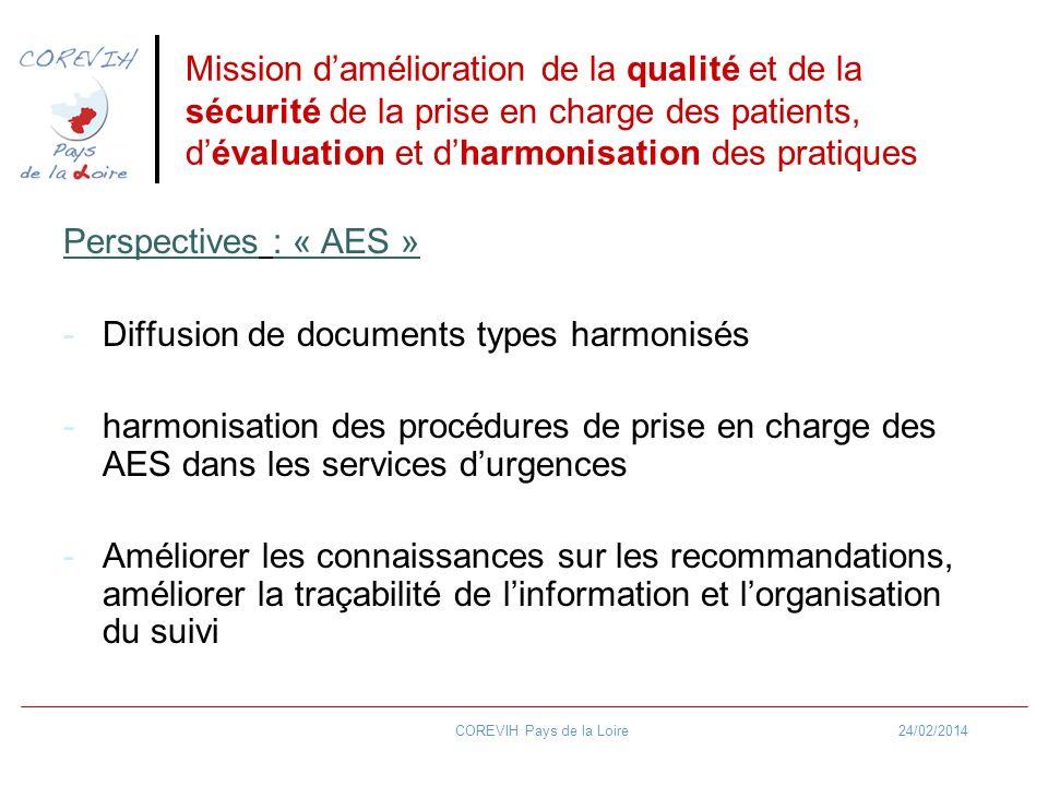 24/02/2014COREVIH Pays de la Loire Mission damélioration de la qualité et de la sécurité de la prise en charge des patients, dévaluation et dharmonisation des pratiques Perspectives : « AES » -Diffusion de documents types harmonisés -harmonisation des procédures de prise en charge des AES dans les services durgences -Améliorer les connaissances sur les recommandations, améliorer la traçabilité de linformation et lorganisation du suivi