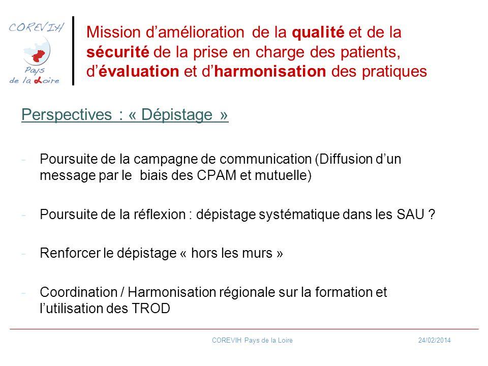24/02/2014COREVIH Pays de la Loire Mission damélioration de la qualité et de la sécurité de la prise en charge des patients, dévaluation et dharmonisa