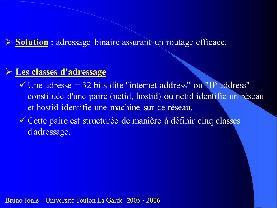 Solution : adressage binaire assurant un routage efficace.