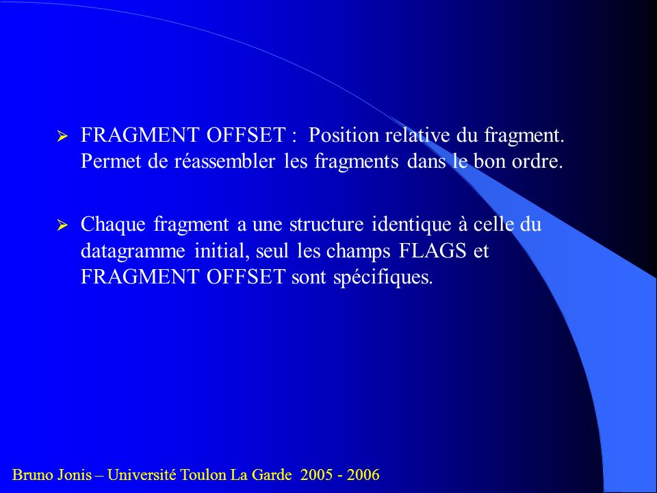 FRAGMENT OFFSET : Position relative du fragment.