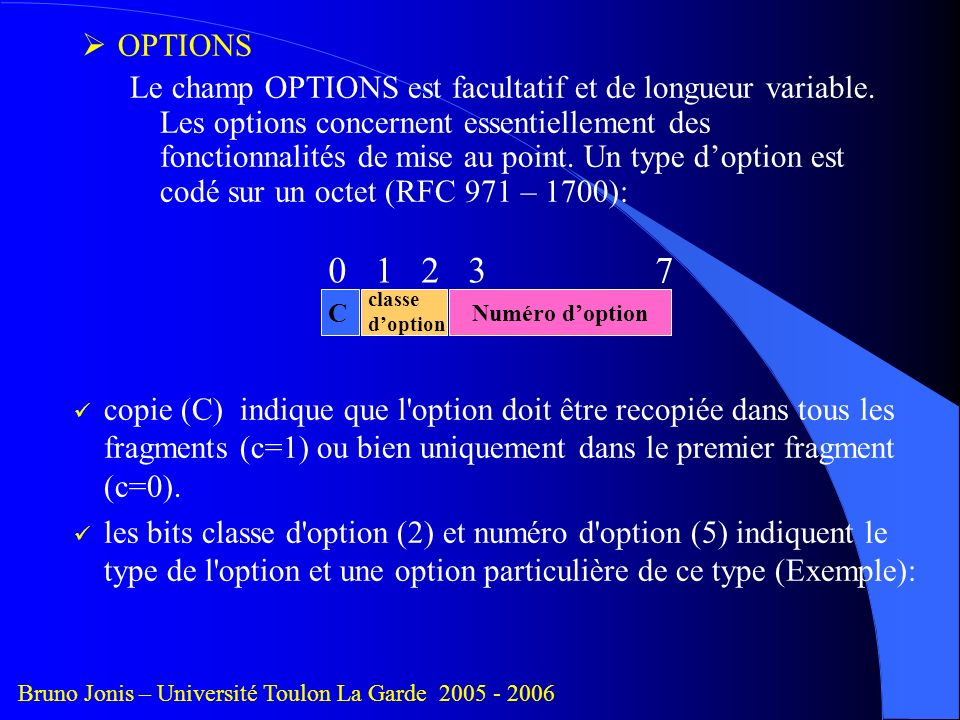 OPTIONS Le champ OPTIONS est facultatif et de longueur variable.