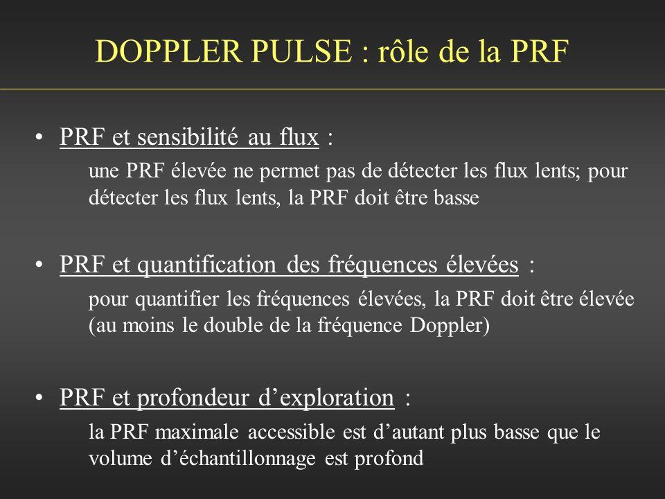 DOPPLER PULSE : rôle de la PRF PRF et sensibilité au flux : une PRF élevée ne permet pas de détecter les flux lents; pour détecter les flux lents, la