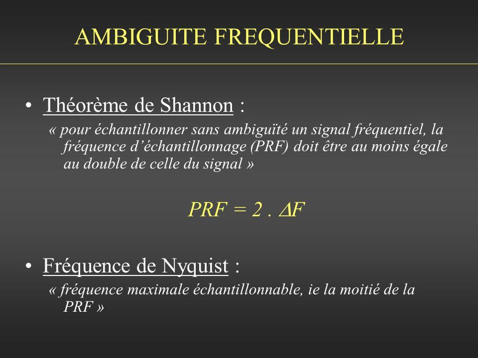 Théorème de Shannon : « pour échantillonner sans ambiguïté un signal fréquentiel, la fréquence déchantillonnage (PRF) doit être au moins égale au doub