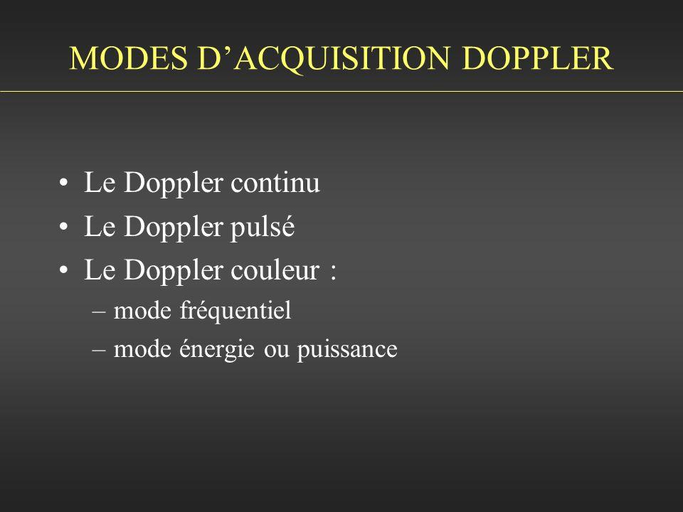 MODES DACQUISITION DOPPLER Le Doppler continu Le Doppler pulsé Le Doppler couleur : –mode fréquentiel –mode énergie ou puissance