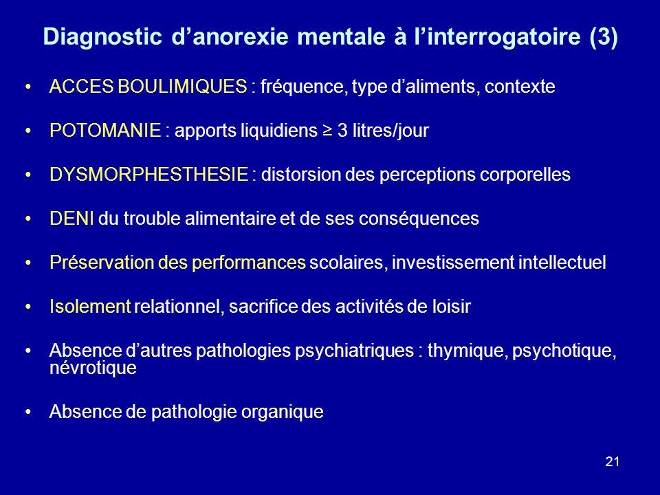 21 Diagnostic danorexie mentale à linterrogatoire (3) ACCES BOULIMIQUES : fréquence, type daliments, contexte POTOMANIE : apports liquidiens 3 litres/