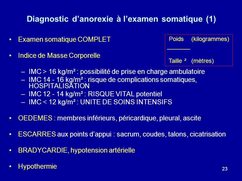 23 Diagnostic danorexie à lexamen somatique (1) Examen somatique COMPLET Indice de Masse Corporelle –IMC > 16 kg/m² : possibilité de prise en charge a