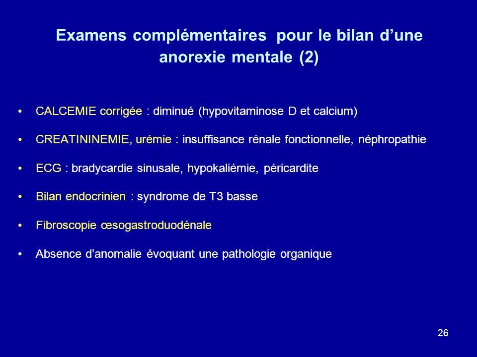 26 Examens complémentaires pour le bilan dune anorexie mentale (2) CALCEMIE corrigée : diminué (hypovitaminose D et calcium) CREATININEMIE, urémie : i