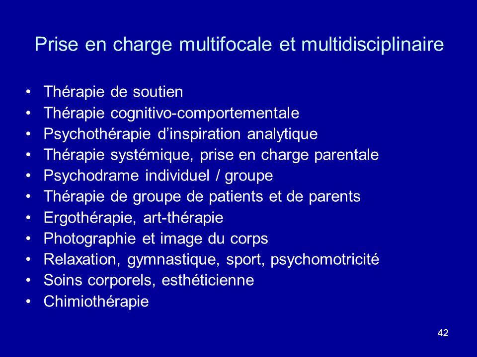 42 Thérapie de soutien Thérapie cognitivo-comportementale Psychothérapie dinspiration analytique Thérapie systémique, prise en charge parentale Psycho