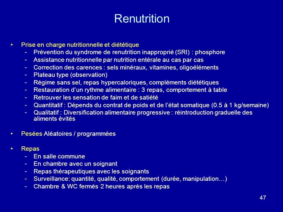 47 Prise en charge nutritionnelle et diététique -Prévention du syndrome de renutrition inapproprié (SRI) : phosphore -Assistance nutritionnelle par nu