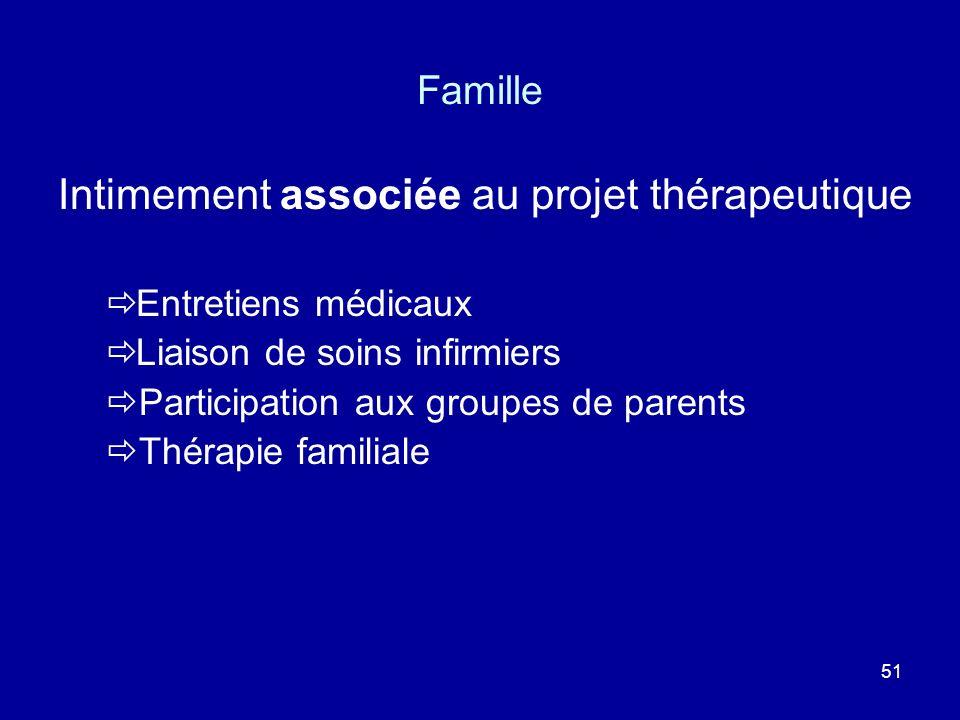 51 Famille Intimement associée au projet thérapeutique Entretiens médicaux Liaison de soins infirmiers Participation aux groupes de parents Thérapie f