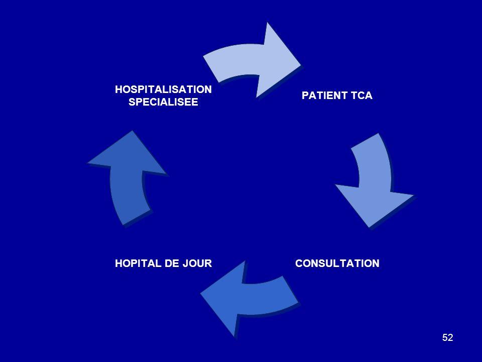 52 PATIENT TCA CONSULTATION HOPITAL DE JOUR HOSPITALISATION SPECIALISEE