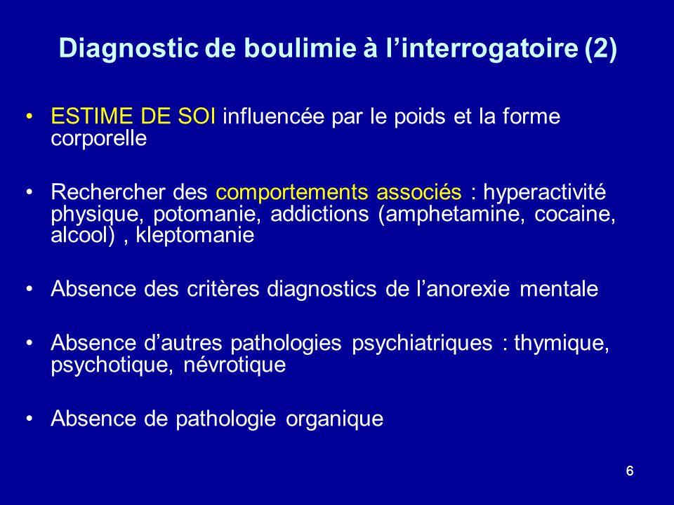 27 Diagnostics différentiels dune anorexie mentale Pathologies somatiques : –Endocriniennes : hyperthyroïdie, diabète, insuffisance surrénale –Digestives : maladies inflammatoires (Crohn), malabsorption, intolérance (lactose, gluten) –Infectieuse : tuberculose, SIDA… –Néoplasies, tumeurs du système nerveux central Pathologies psychiatriques : –Troubles de lhumeur (dépression atypique) –TOC, trouble conversif, trouble phobique –Psychose : schizophrénie pseudonévrotique (délire dempoisonnement alimentaire, dysmorphophobie) –Addictions : cocaïne, amphétamine, alcool, cannabis