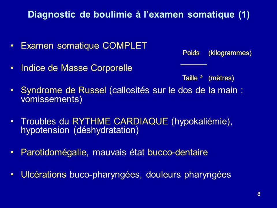 9 Diagnostic de boulimie à lexamen somatique (2) Troubles digestifs : oesophagite, reflux œsogastroduodénal, ulcère, pancréatite HEMATEMESE (syndrome de Mallory-Weiss), rupture oesophagienne ou gastrique Signes dinsuffisance rénale (secondaire à labus de diurétiques et déshydratation) Troubles du cycle menstruel Absence danomalie évoquant une pathologie organique