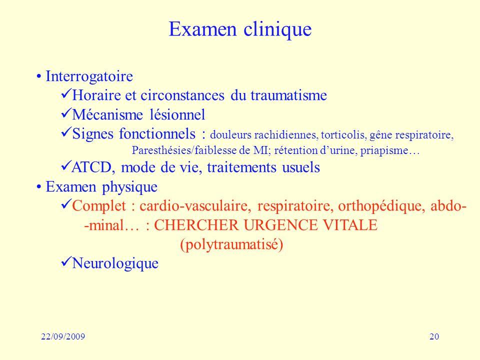 22/09/200920 Examen clinique Interrogatoire Horaire et circonstances du traumatisme Mécanisme lésionnel Signes fonctionnels : douleurs rachidiennes, t
