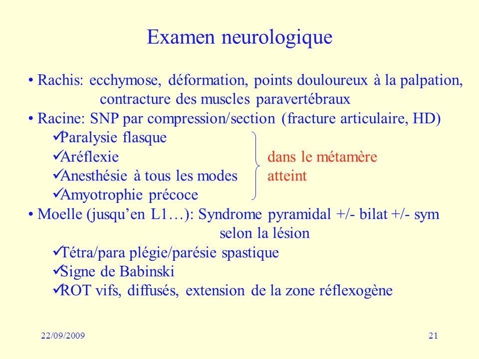 22/09/200921 Examen neurologique Rachis: ecchymose, déformation, points douloureux à la palpation, contracture des muscles paravertébraux Racine: SNP