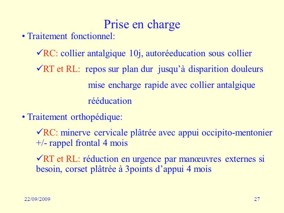 22/09/200927 Prise en charge Traitement fonctionnel: RC: collier antalgique 10j, autoréeducation sous collier RT et RL: repos sur plan dur jusquà disp
