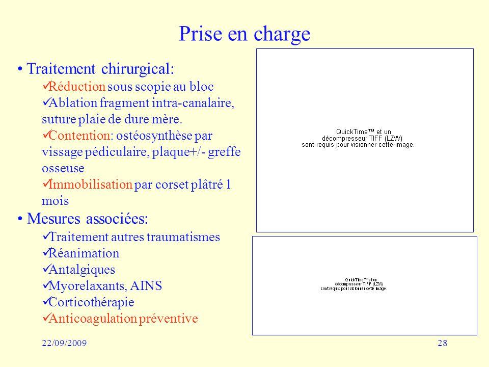 22/09/200928 Prise en charge Traitement chirurgical: Réduction sous scopie au bloc Ablation fragment intra-canalaire, suture plaie de dure mère. Conte