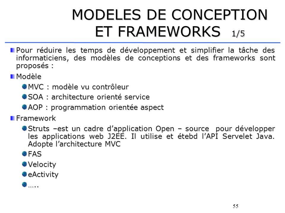 55 MODELES DE CONCEPTION ET FRAMEWORKS 1/5 Pour réduire les temps de développement et simplifier la tâche des informaticiens, des modèles de conceptions et des frameworks sont proposés : Modèle MVC : modèle vu contrôleur SOA : architecture orienté service AOP : programmation orientée aspect Framework Struts –est un cadre dapplication Open – source pour développer les applications web J2EE.