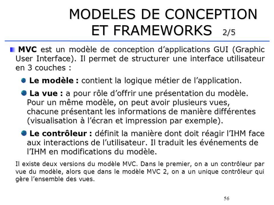 57 MODELES DE CONCEPTION ET FRAMEWORKS 3/5 De nombreux frameworks implémentent le modèle MVC 2.
