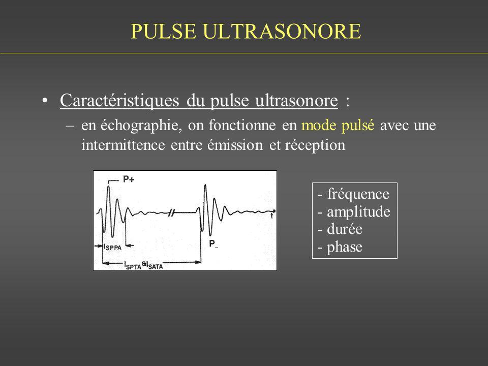 PULSE ULTRASONORE Caractéristiques du pulse ultrasonore : –en échographie, on fonctionne en mode pulsé avec une intermittence entre émission et récept