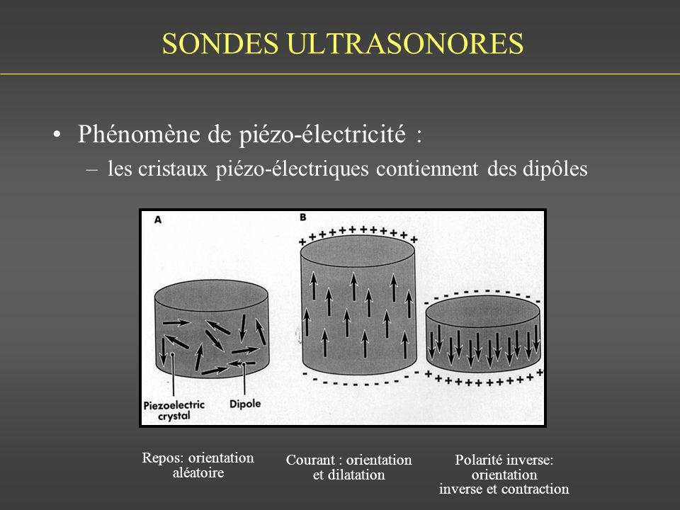 SONDES ULTRASONORES Phénomène de piézo-électricité : –les cristaux piézo-électriques contiennent des dipôles BUSHONG FIG 7-2 Repos: orientation aléato
