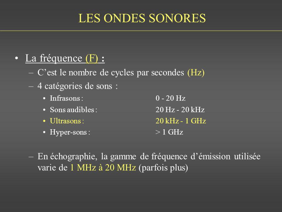 LES ONDES SONORES La fréquence (F) : –Cest le nombre de cycles par secondes (Hz) –4 catégories de sons : Infrasons :0 - 20 Hz Sons audibles : 20 Hz -
