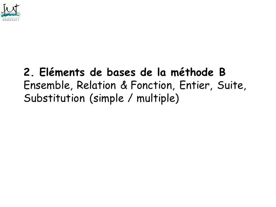 2. Eléments de bases de la méthode B Ensemble, Relation & Fonction, Entier, Suite, Substitution (simple / multiple)