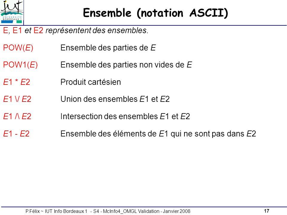 17P.Félix ~ IUT Info Bordeaux 1 - S4 - McInfo4_OMGL Validation - Janvier 2008 Ensemble (notation ASCII) E, E1 et E2 représentent des ensembles.