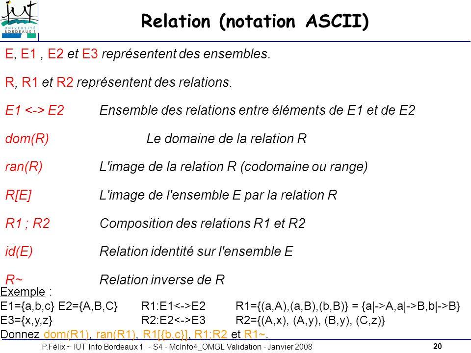 20P.Félix ~ IUT Info Bordeaux 1 - S4 - McInfo4_OMGL Validation - Janvier 2008 Relation (notation ASCII) E, E1, E2 et E3 représentent des ensembles.