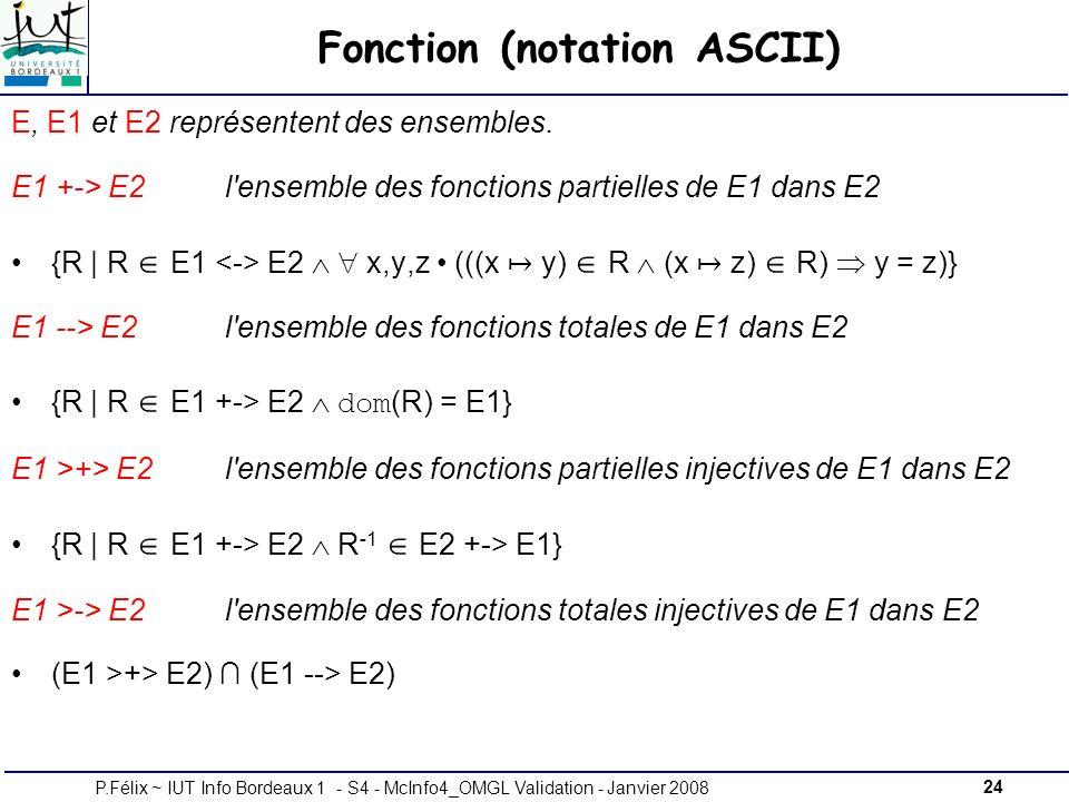 24P.Félix ~ IUT Info Bordeaux 1 - S4 - McInfo4_OMGL Validation - Janvier 2008 Fonction (notation ASCII) E, E1 et E2 représentent des ensembles.