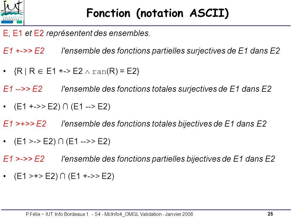 25P.Félix ~ IUT Info Bordeaux 1 - S4 - McInfo4_OMGL Validation - Janvier 2008 Fonction (notation ASCII) E, E1 et E2 représentent des ensembles.