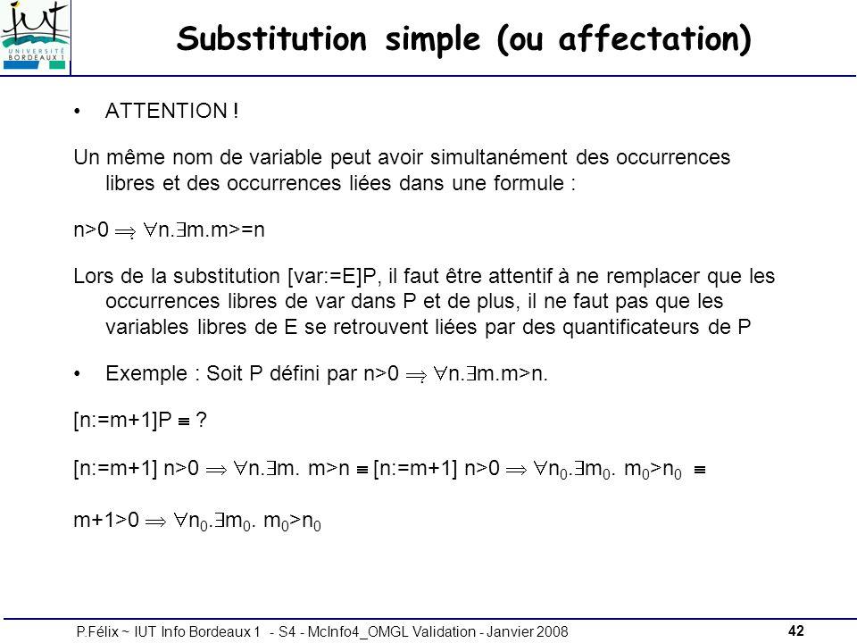 42P.Félix ~ IUT Info Bordeaux 1 - S4 - McInfo4_OMGL Validation - Janvier 2008 Substitution simple (ou affectation) ATTENTION .