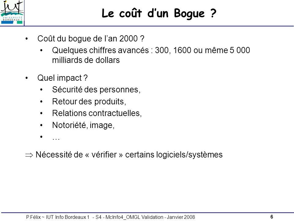 6P.Félix ~ IUT Info Bordeaux 1 - S4 - McInfo4_OMGL Validation - Janvier 2008 Le coût dun Bogue .