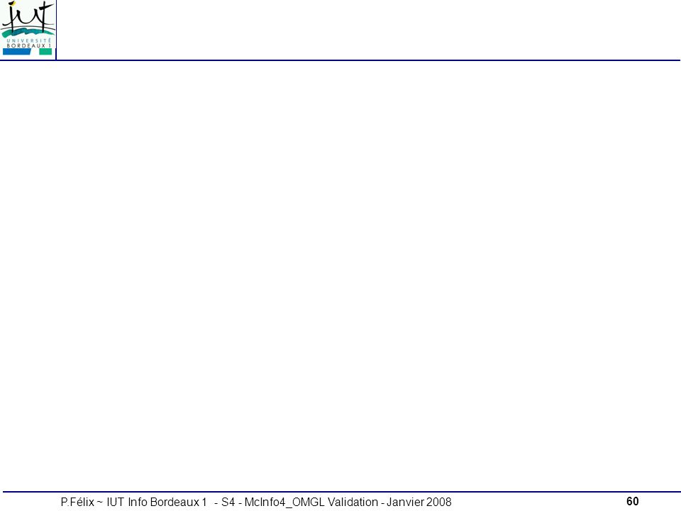 60P.Félix ~ IUT Info Bordeaux 1 - S4 - McInfo4_OMGL Validation - Janvier 2008